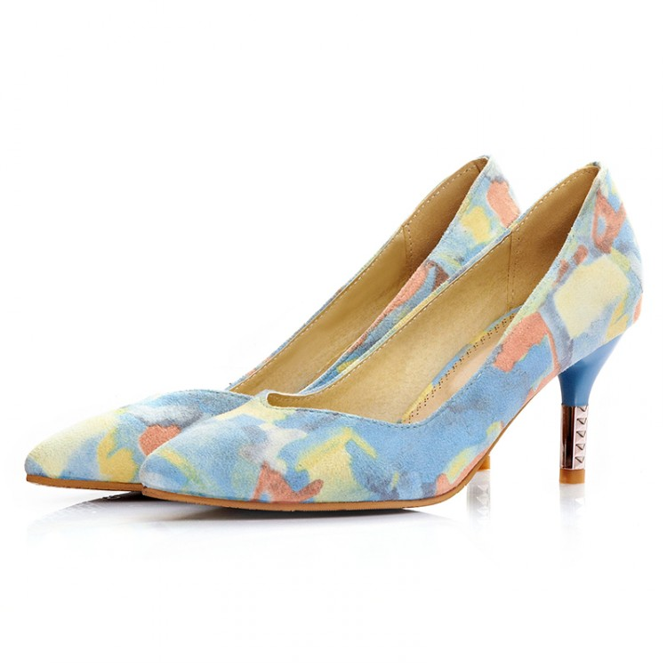 Cheap Fashion Pointed Closed Toe Print Stiletto Hi