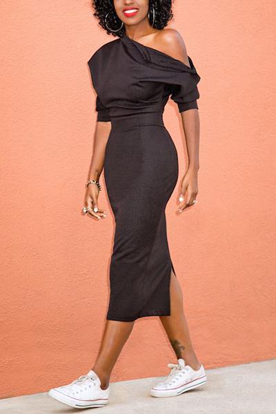 Stylish Dew Shoulder Asymmetrical Black Polyester