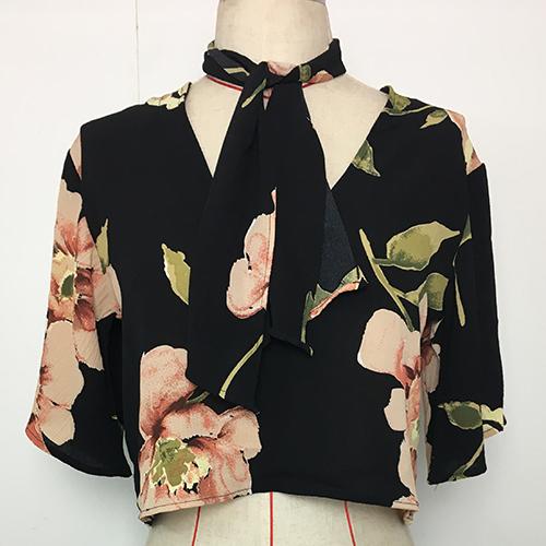 Trendy V Neck Half Sleeves Printed Black Blending
