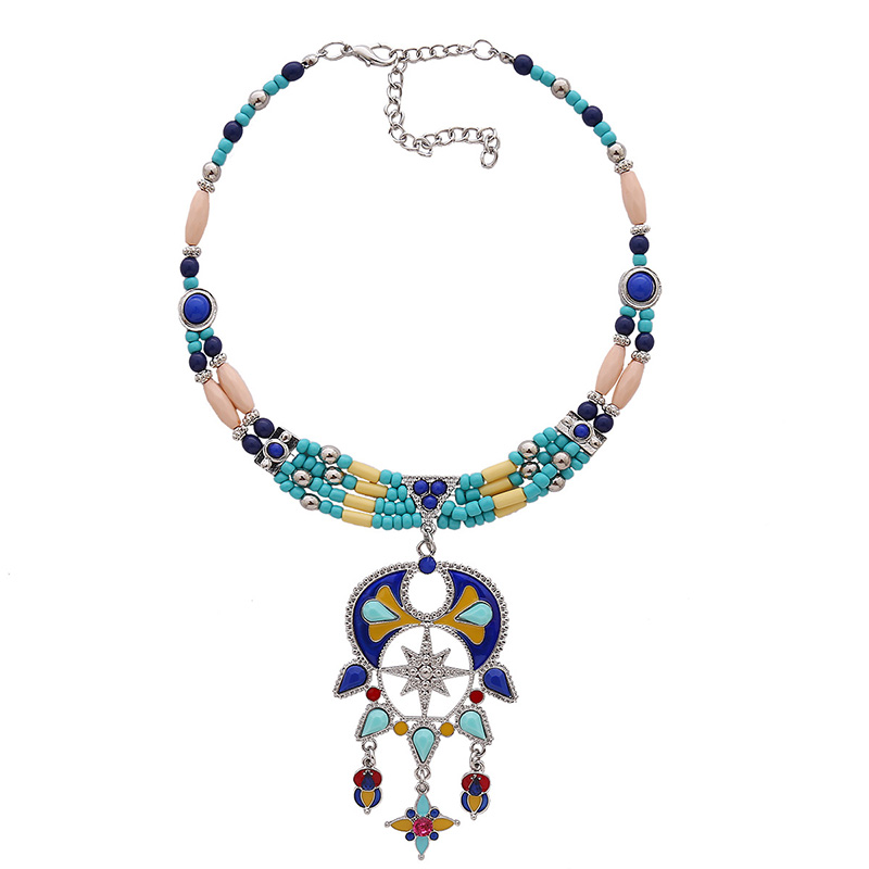 Bohemia Style Hollow-out Blue Metal Necklace