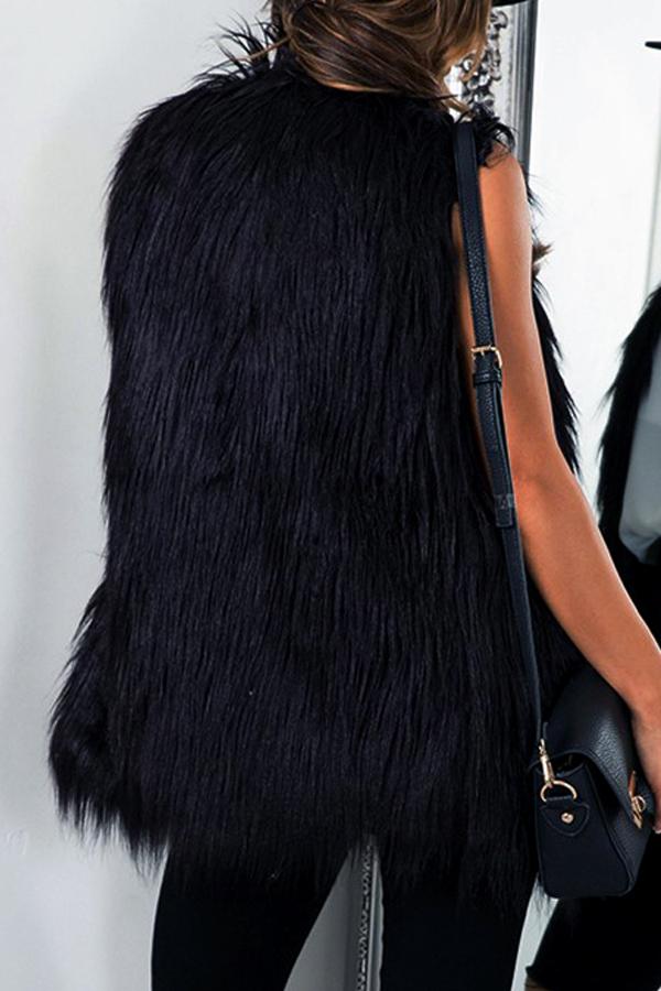 Faux Fur V Neck single breasted Regular Vests&Wais