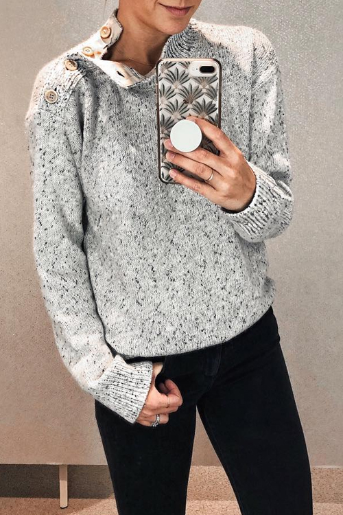 Lovely Casual Shoulder Button On The Opening Grey