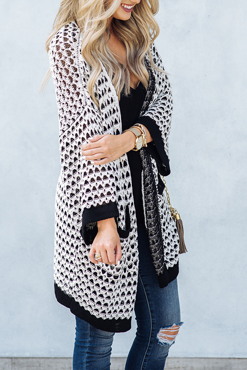 Lovely Casual Long Sleeves Geometric Printed White