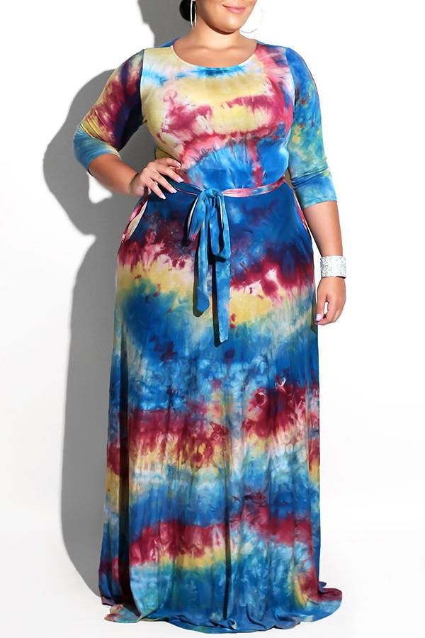 Lovely Stylish Tie-dye Printed Floor Length Dress(