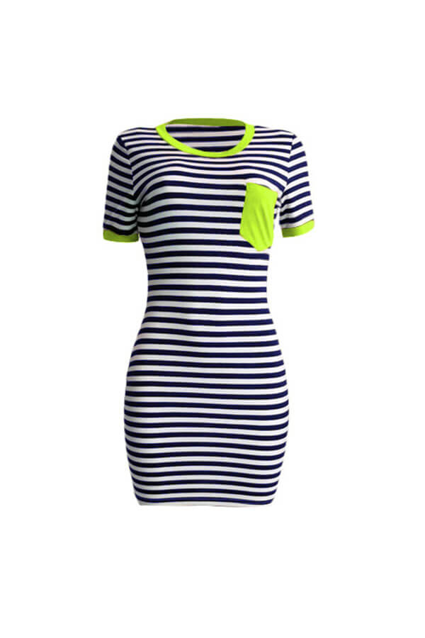 Lovely Casual O Neck Striped Patchwork Green Mini