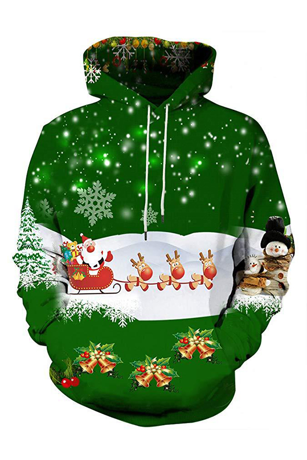 Lovely Christmas Day Hooded Collar Green Hoodie