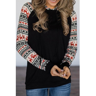 Lovely Christmas Day Hooded Collar Patchwork Black