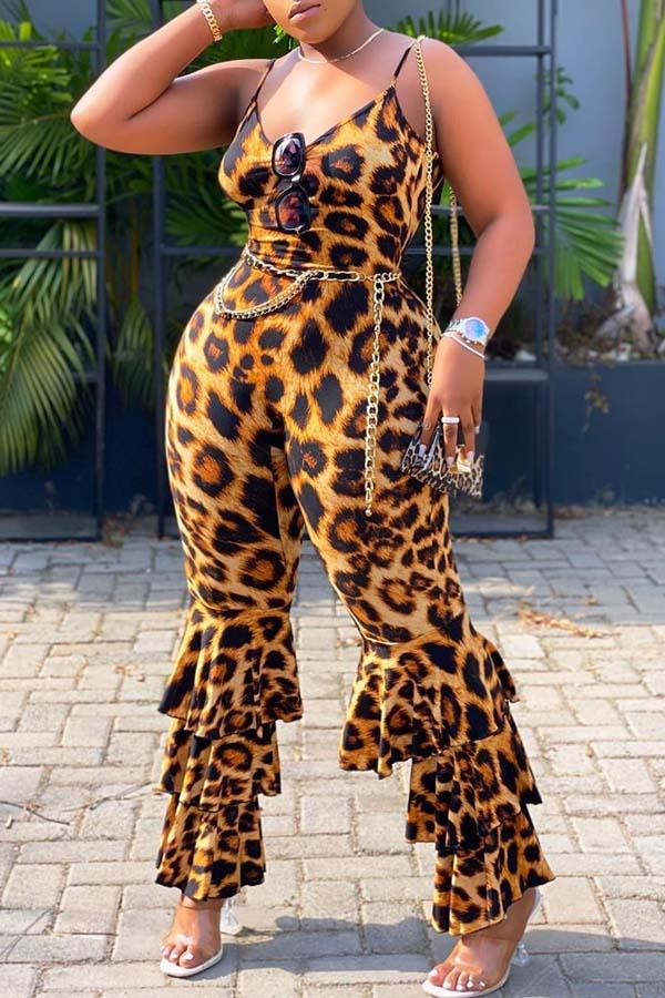Lovely Plus Size Trendy Leopard Print One-piece Ju