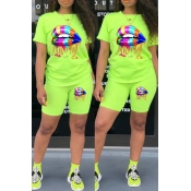 Lovely Casual Lip Print Green Two-piece Shorts Set
