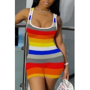 Lovely Casual Rainbow Striped Multicolor One-piece Romper