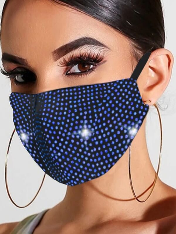 Lovely Rhinestone Decorative Blue Face Mask