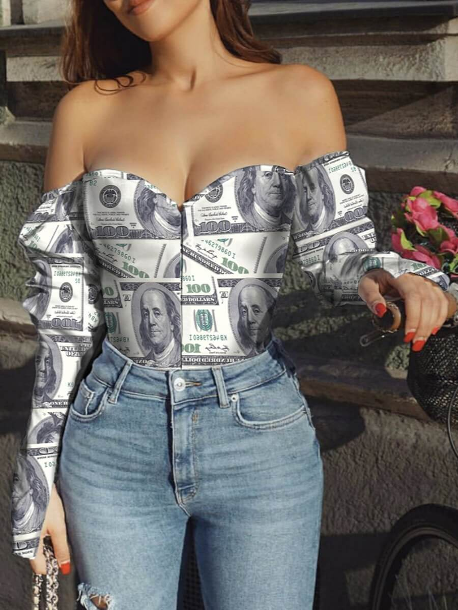 Lovely Sexy Off The Shoulder Money Print White Blo