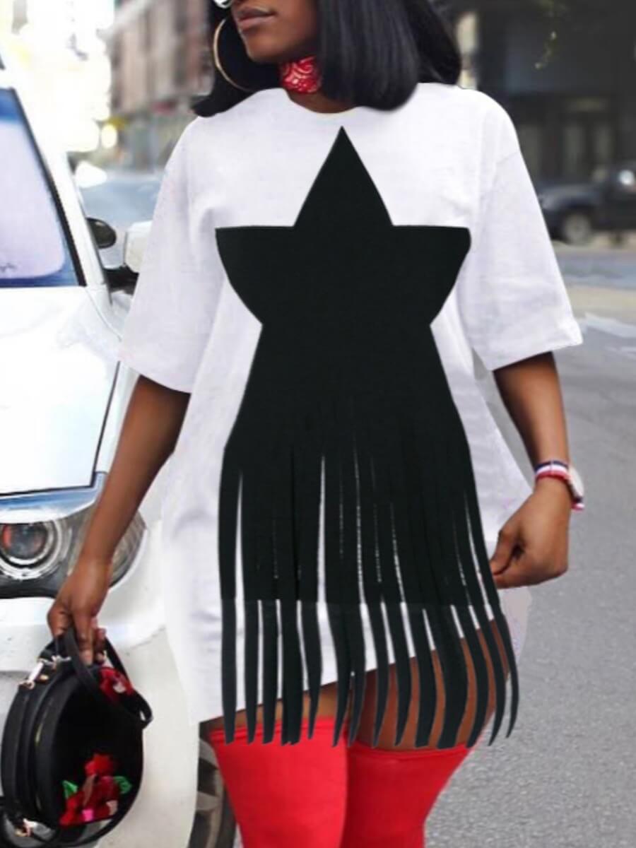 Lovely Plus Size O Neck Pentagram Print White Dres