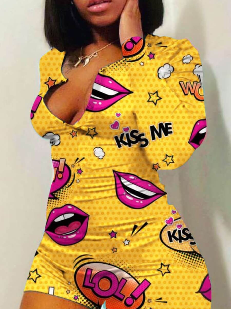 Lovely Leisure Lip Print Yellow One-piece Romper