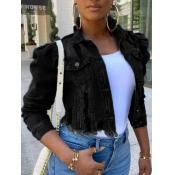 Lovely Street Turndown Collar Buttons Design Black
