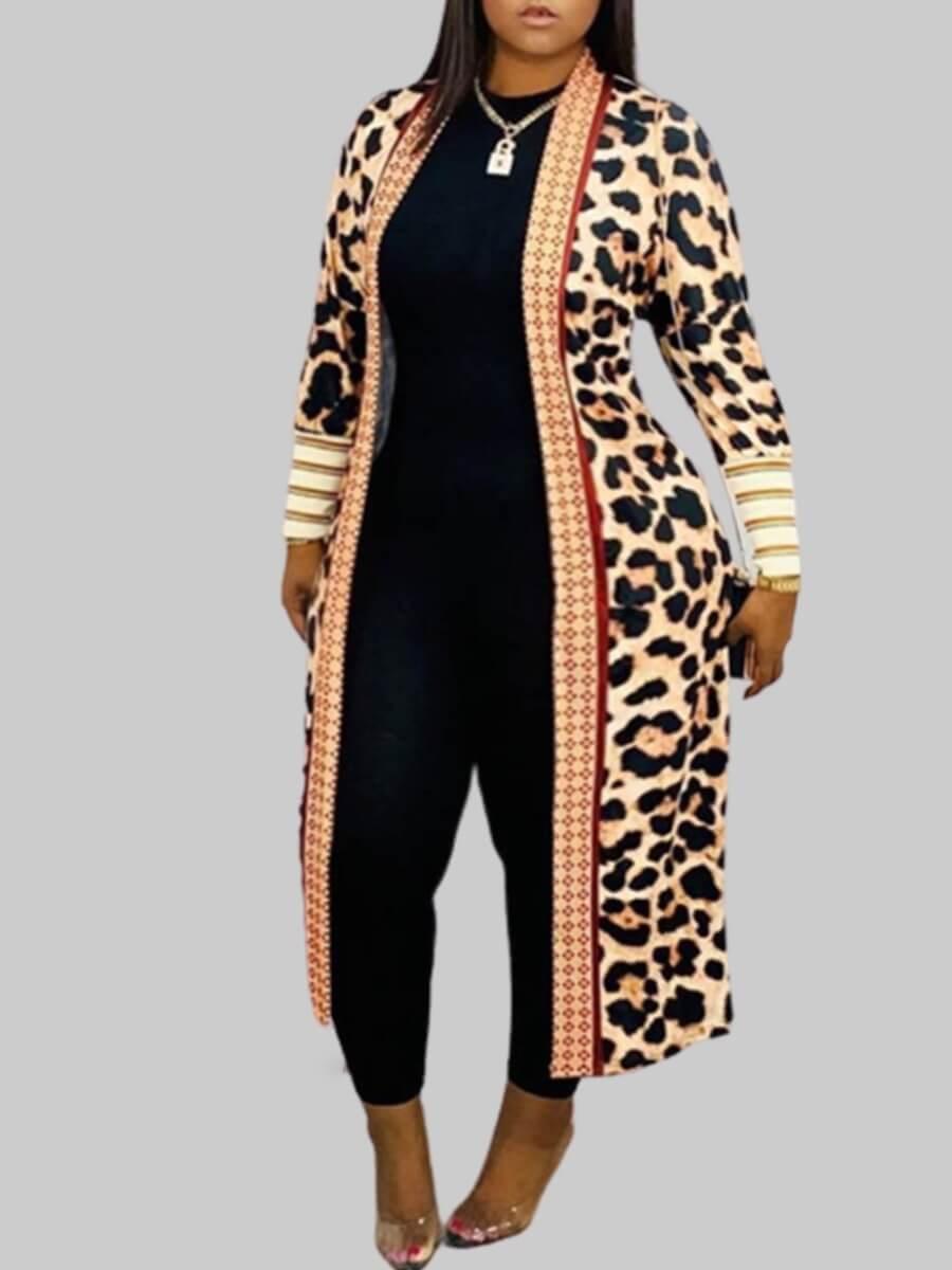 Lovely Plus Size Casual Leopard Print Coat