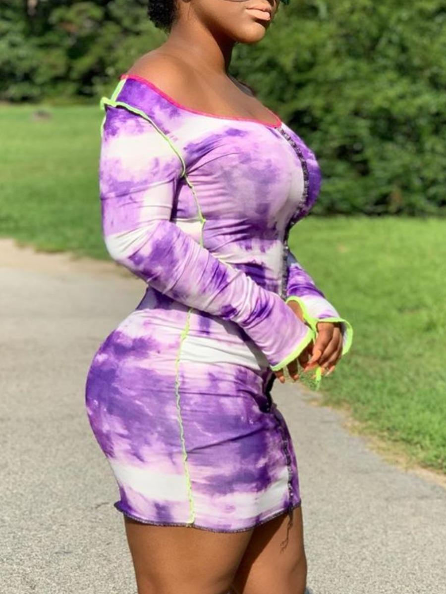 lovely Stylish O Neck Tie-dye Purple Mini Dress