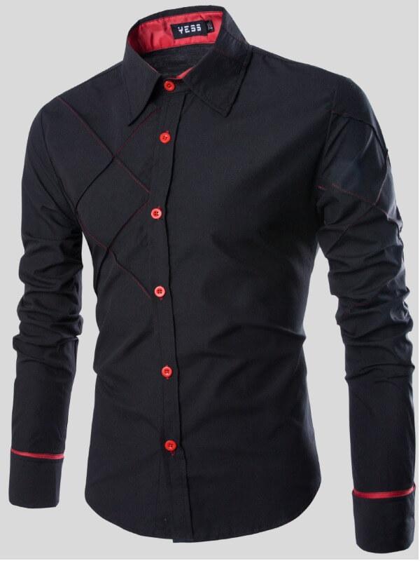 Lovely Men Trendy Turndown Collar Buttons Design B