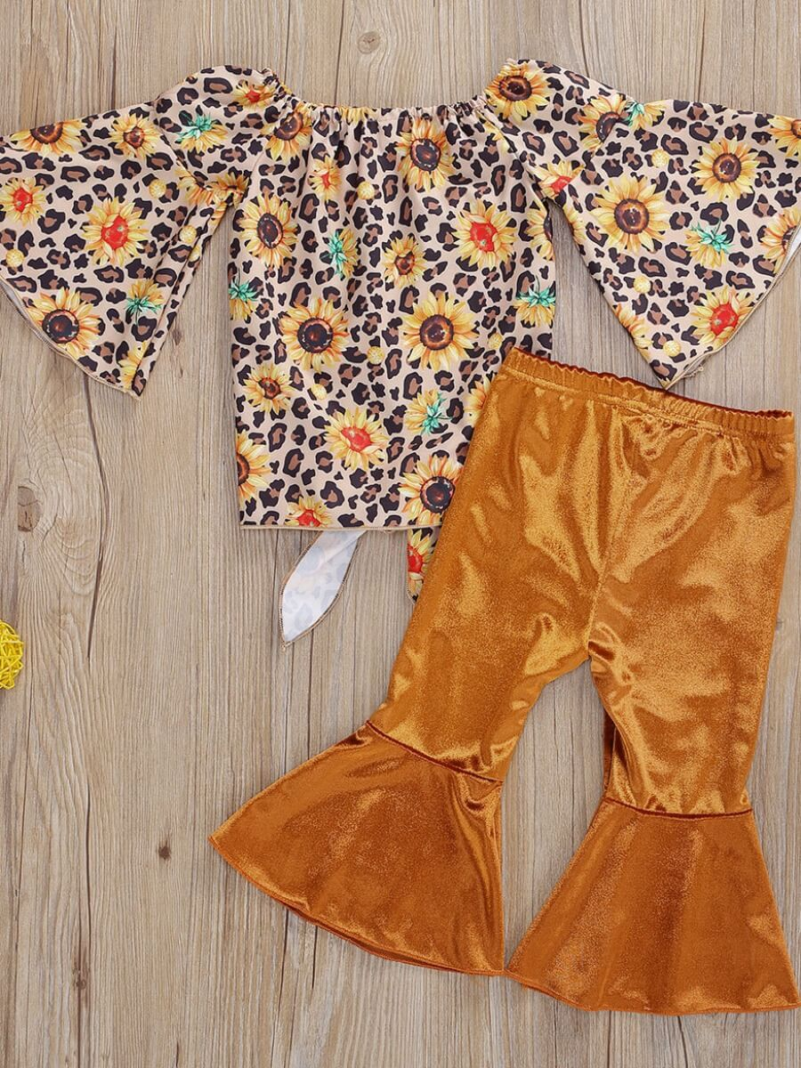 Lovely Girl Stylish O Neck Floral Print Yellow Two