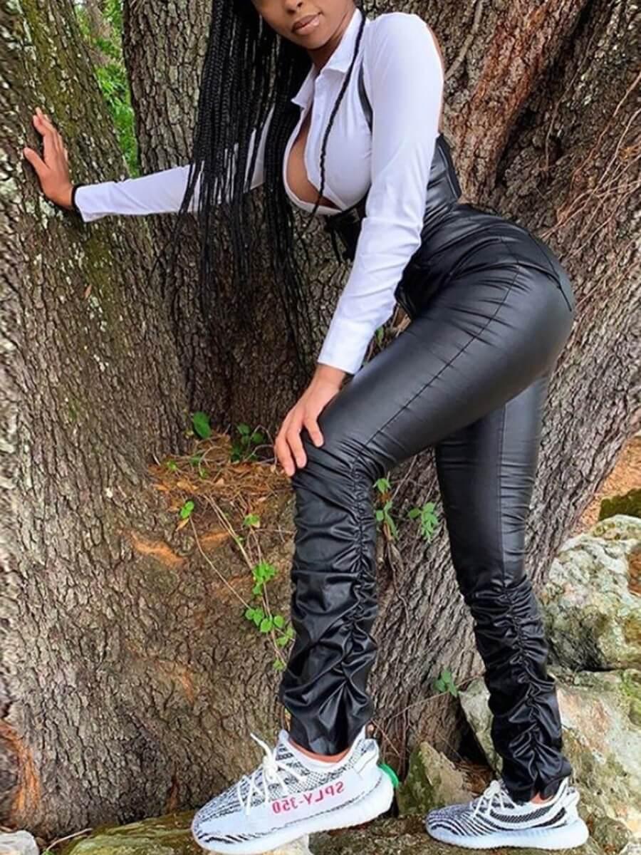 Lovely Street Fold Design Black Pants