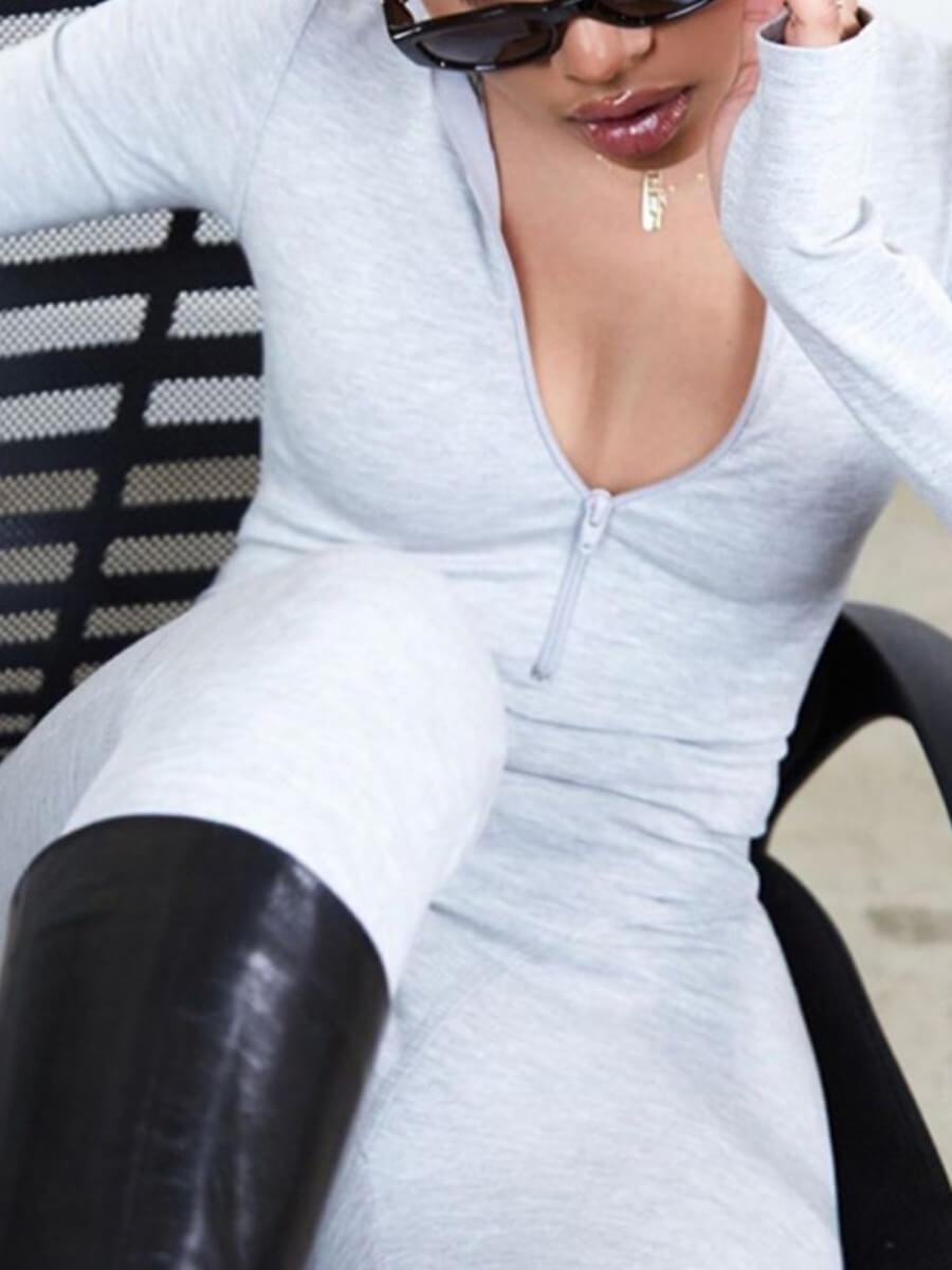 Lovely Plus Size Sportswear Zipper Design Skinny L
