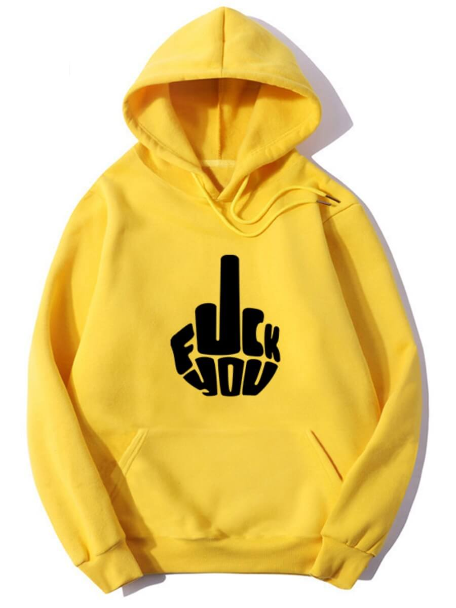 Lovely Casual Hooded Collar Print Yellow Hoodie