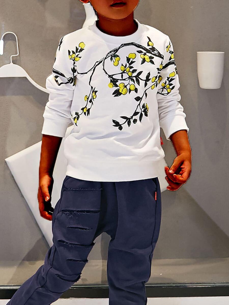 Lovely Leisure O Neck Plants Print White Boy Hoodi