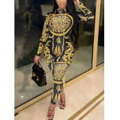 Lovely Trendy Versace Print Skinny Yellow One-piec