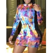 Lovely Casual O Neck Tie-dye Multicolor Mini Dress