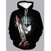 Lovely Men Street Hooded Collar Print Black Hoodie