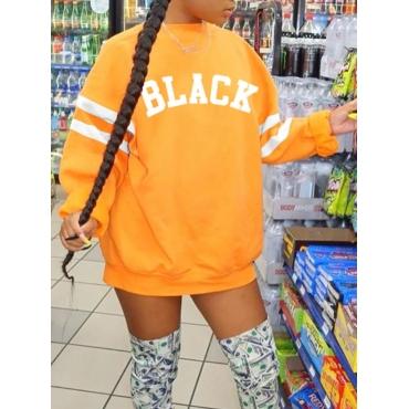 lovely Casual O Neck Letter Print Orange Mini Dres