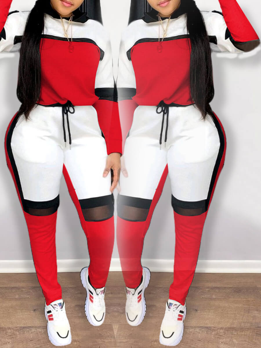 Lovely Plus Size Sportswear Patchwork Red Two-piec