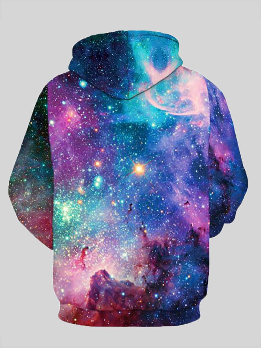 Lovely Trendy Hooded Collar Starry Sky Print Gradi