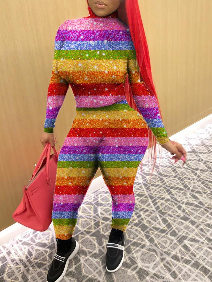 Lovely Stylish O Neck Rainbow Striped Skinny Multi