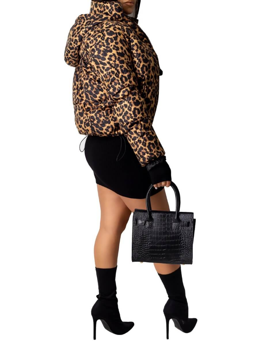 Lovely Casual Turndown Collar Leopard Print Brown