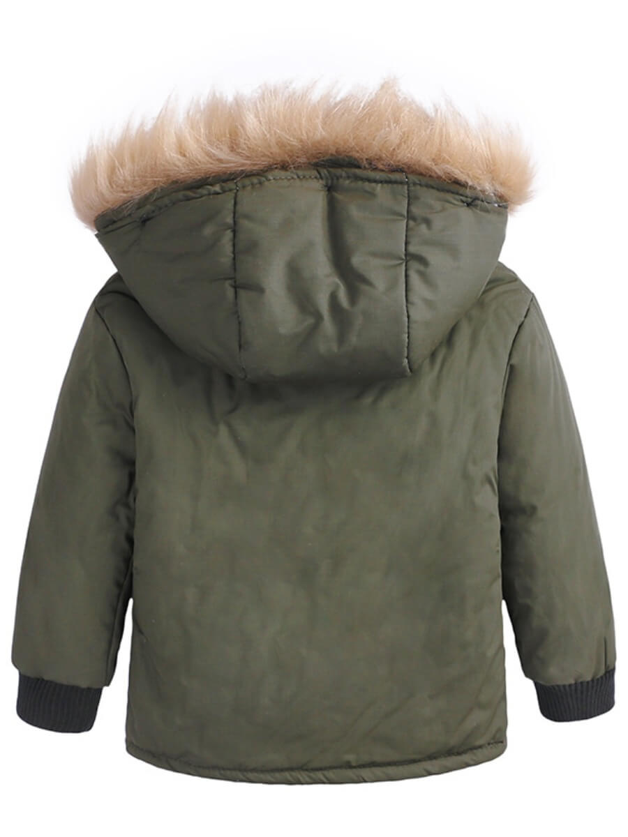 Lovely Casual Hooded Collar Pocket Patched Army Gr