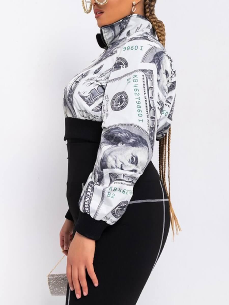 Lovely Trendy Turndown Collar Print White Coat