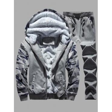 Lovely Men Casual Hooded Collar Print Patchwork Da