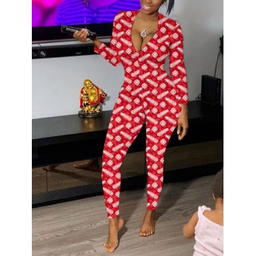 Lovely Stylish Print Skinny Red One-piece Jumpsuit