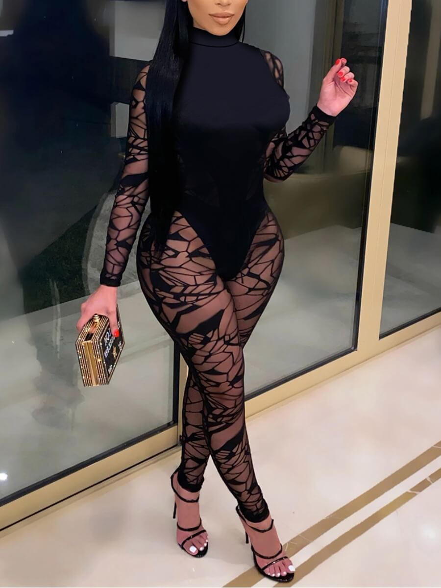 Lovely Sexy Turtleneck See-through Patchwork Black
