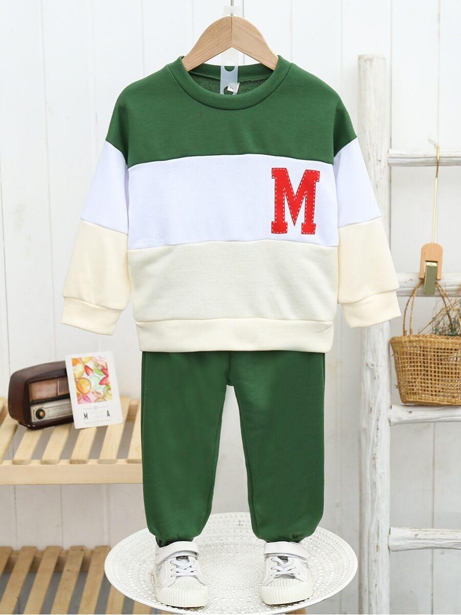 Lovely Sportswear Letter Print Patchwork Green Boy