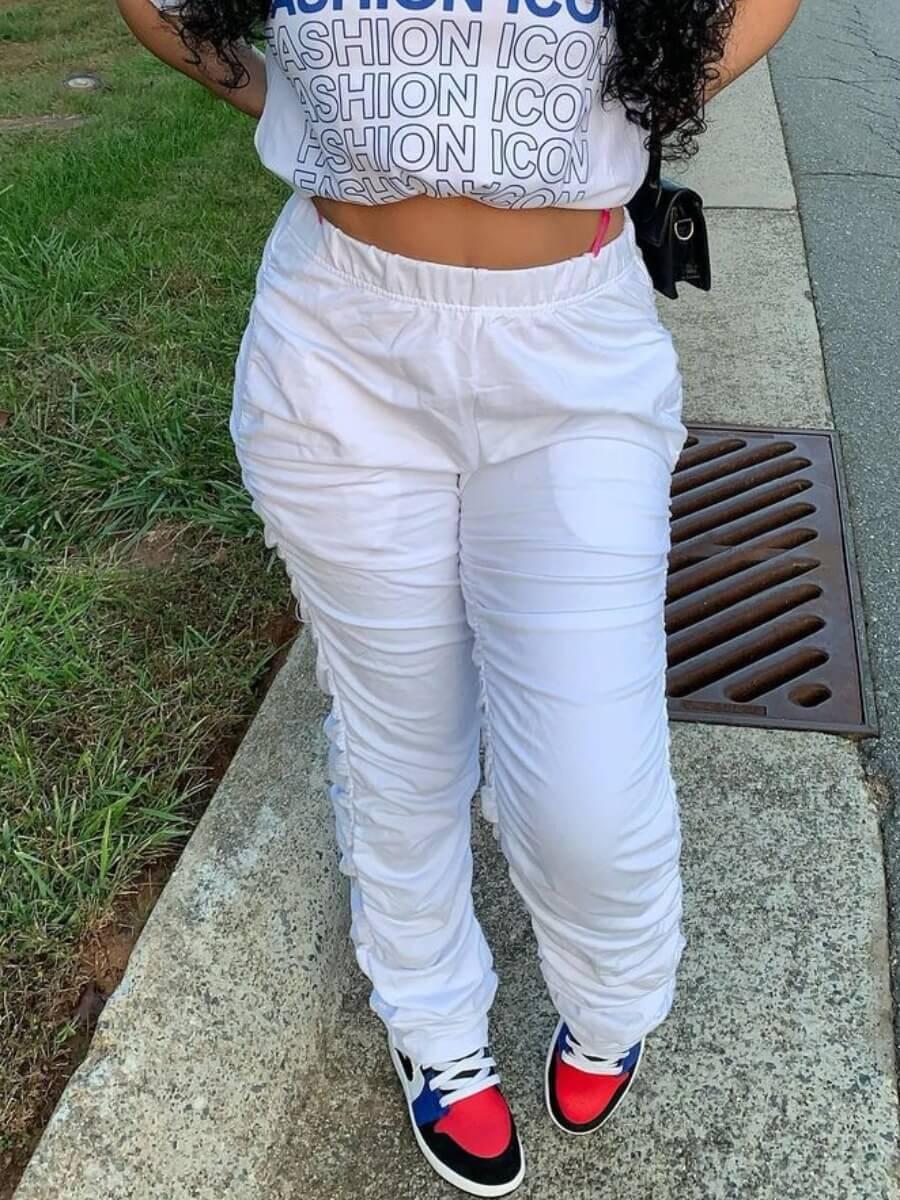 Lovely Leisure Mid Waist Fold Design White Pants