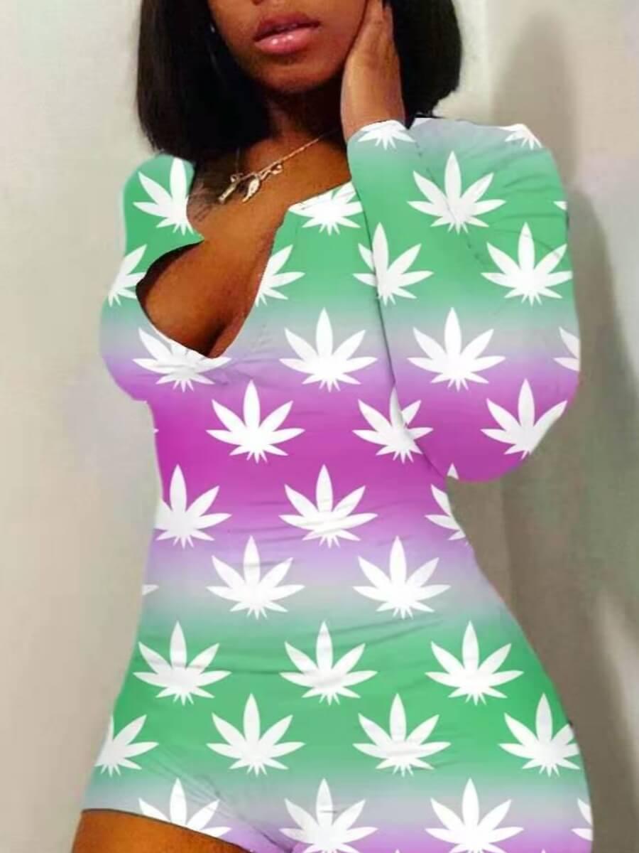 Lovely Sweet Floral Tie-dye Gradient Green One-pie