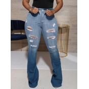 Lovely Street Flared Broken Holes Blue Jeans