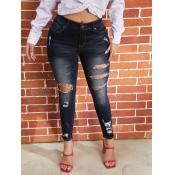 Lovely Euramerican Broken Holes Black Jeans