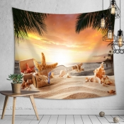 Lovely Beach Sunset Print Patchwork Multicolor Wal