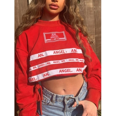 Lovely Casual Letter Print Crop Top Red Hoodie