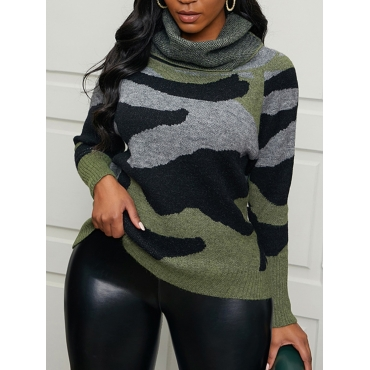 Lovely Trendy Turtleneck Camo Print Army Green Swe