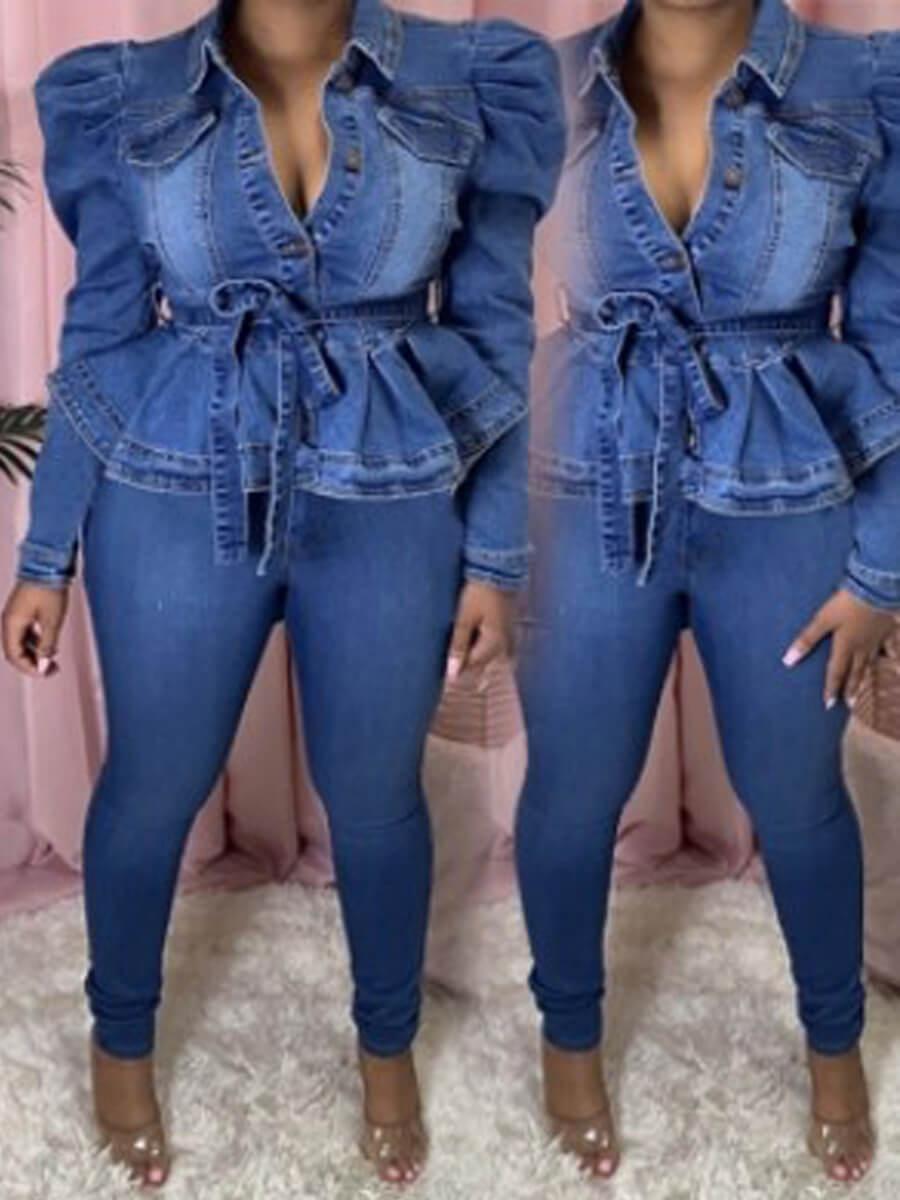 Lovely Sweet Turndown Collar Fold Design Blue Deni