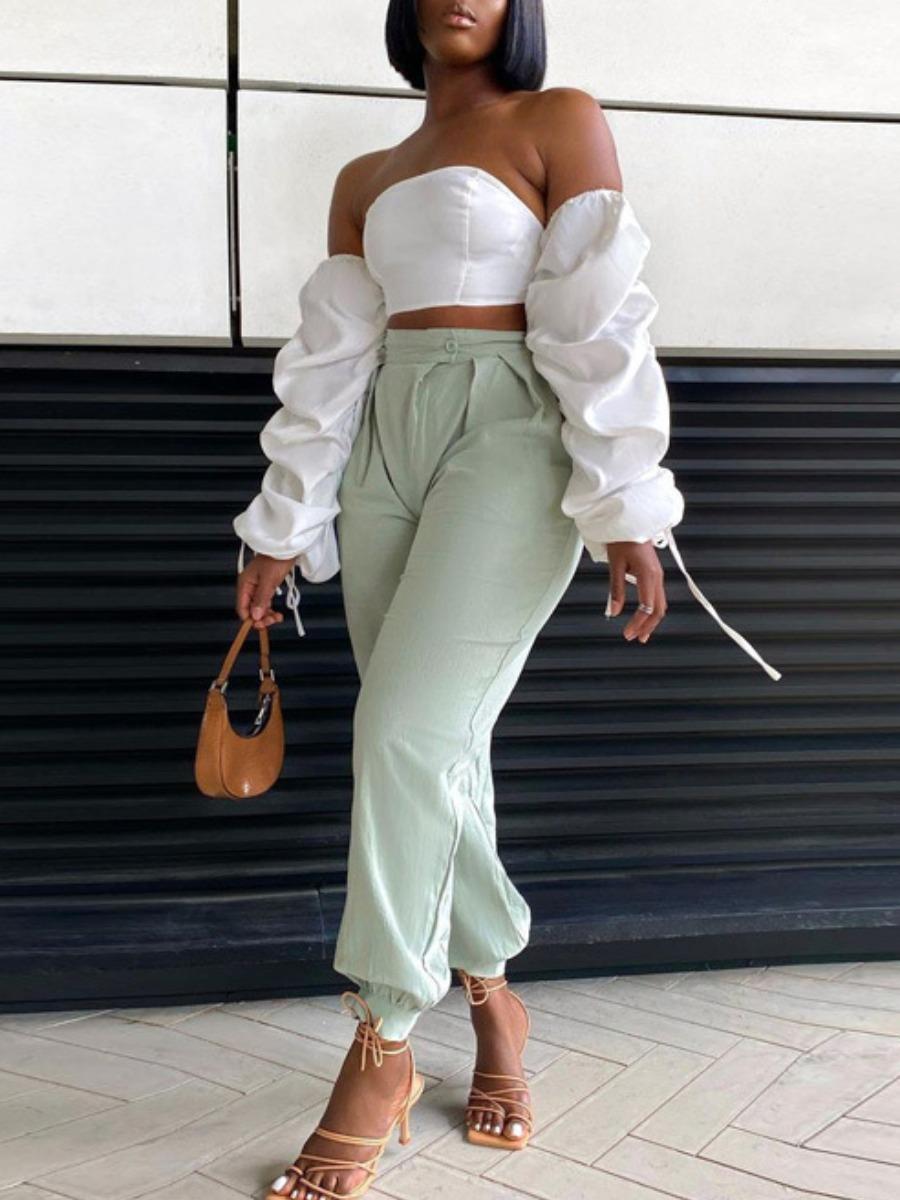 Lovely Chic Off The Shoulder Fold Design Drawstrin